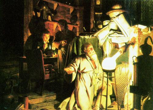 Картина Джозефа Райта «Алхимик, открывающий фосфор» (1771 год), предположительно описывающая открытие фосфора Хеннигом Брандом.https://ru.wikipedia.org/wiki/Фосфор